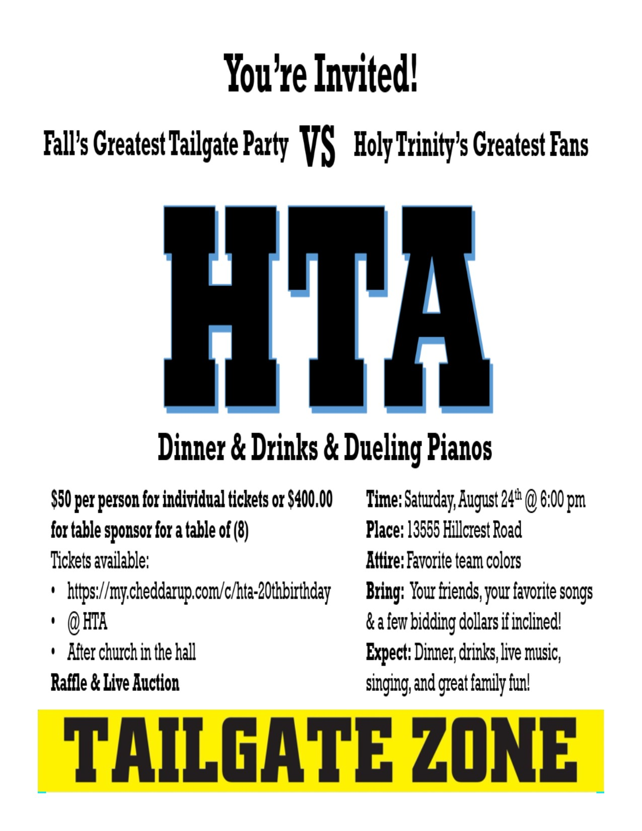 HTA Tailgate party, August 24 | Holy Trinity Greek Orthodox